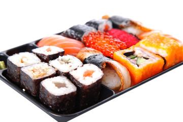 japanese traditional sushi isolated on white