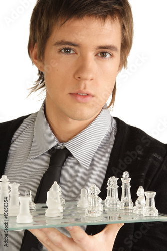 a man with a chess board