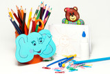 School stationery on a white background poster
