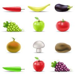 various fruit and vegetables icons isolated