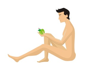 Adam to eat of the forbidden fruit on a white background
