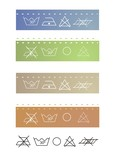 Clothes labels shows washing instructions, in various colors