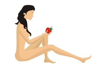 Eve to eat of the forbidden fruit on a white background
