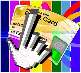 Pay by click credit card vector