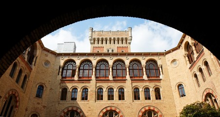 Neo-Byzantine building of Vienna Arsenal through the archway