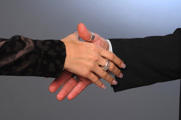The detail of the connecting hands