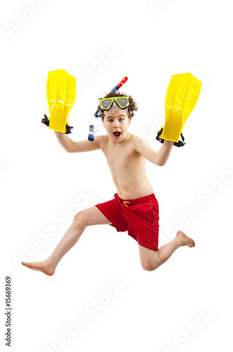 Aluminium Duiken Boy ready to swim and dive isolated on white background