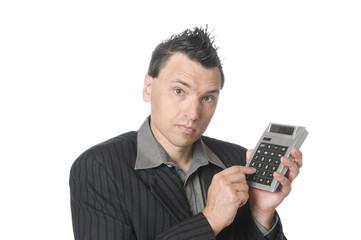 Business-Punk, Manager mit Taschenrechner