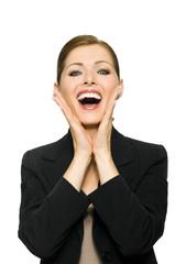 Geschäftsfrau freut sich über Erfolg