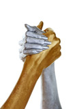 gold and silver hands joined poster