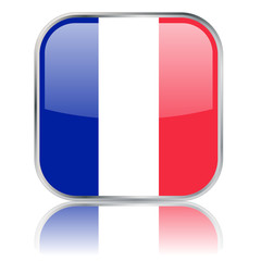 Square French Flag button with reflection