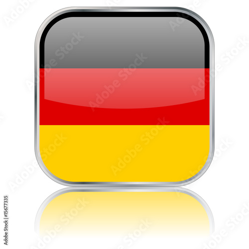 Square German Flag button with reflection