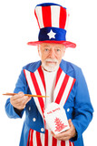 Uncle Sam Eats Chinese Takeout poster
