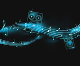 Fototapety musical illustration with neon lights