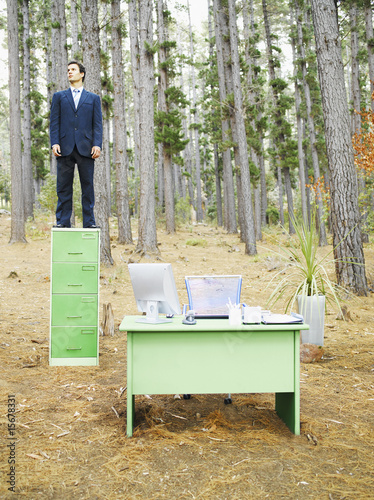 A businessman on his filing cabinet in the woods
