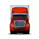 Front view rendering of red and white semi-truck