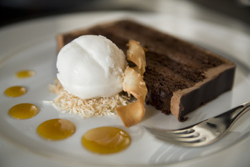 Chocolate Cake and Cocount Ice Cream