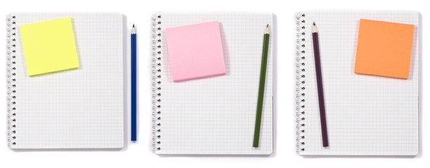 Set of note papers and pencils