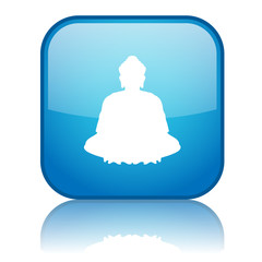 Square button with Buddha symbol (blue)