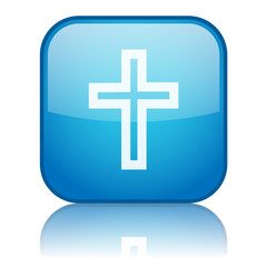 Square button with Christianity symbol (blue)