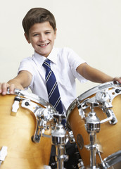 A student in music class