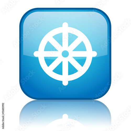 Square button with Buddhism symbol (blue)