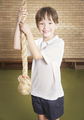 A student in gym class