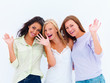 Portrait of happy young girls waving hands over white