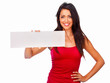 Smiling beautiful woman holding a white board on white