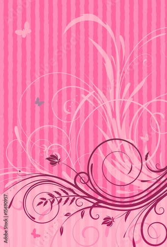Pink Grunge Floral Decorative background