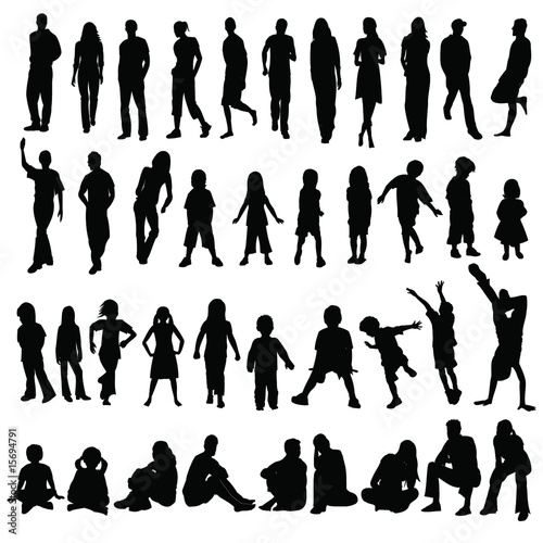 silhouettes of women. Lots of Men Women and Children