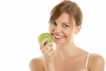 Portrait of young beauty woman with green apple