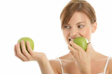 Young beauty woman with two green apples