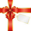 Emballage cadeau noeud rouge avec carte