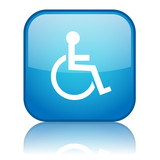 Square button with Disabled symbol with reflection (blue) poster