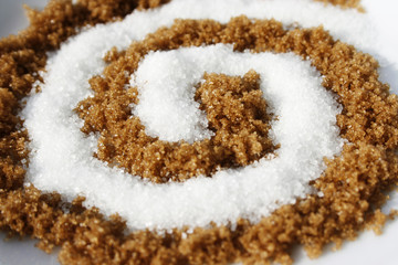 Spiral with white and brown sugar