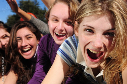fame - excited teenage fans celebrating a celebrity