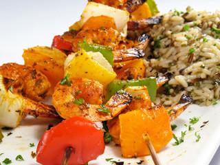 Shrimp Kebabs & Rice