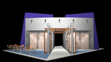 3D rendered exhibition stand poster