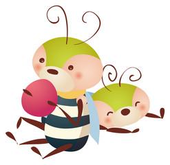 bee eating  fruit
