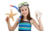 Girl ready to swimm and dive isolated on white background poster