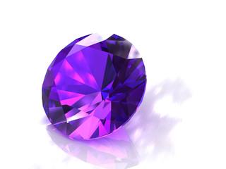 Large round purple amethyst gemstone