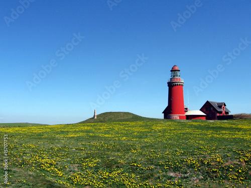 Leinwanddruck Bild Leuchtturm im Frühling