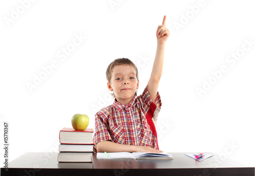 Boy pulls upwards hand