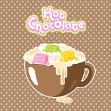 Vector kawaii marshmallows in a hot chocolate poster