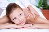 Fototapety Beauty woman getting relaxation in  spa salon