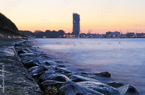 Stony sea coastline and quay in Gdynia, Poland