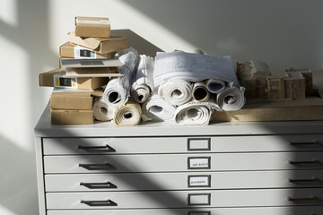 Architect supplies on top of a filing cabinet