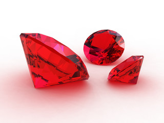 Set of three adorable ruby gems