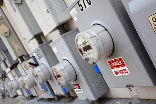 Leinwandbild Motiv industrial power meters